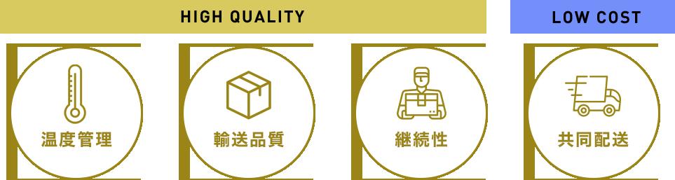 温度管理・輸送品質・継続性・共同配送